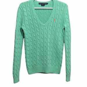 RALPH LAUREN sport cable knit light green v neck sweater size Medium cotton swea